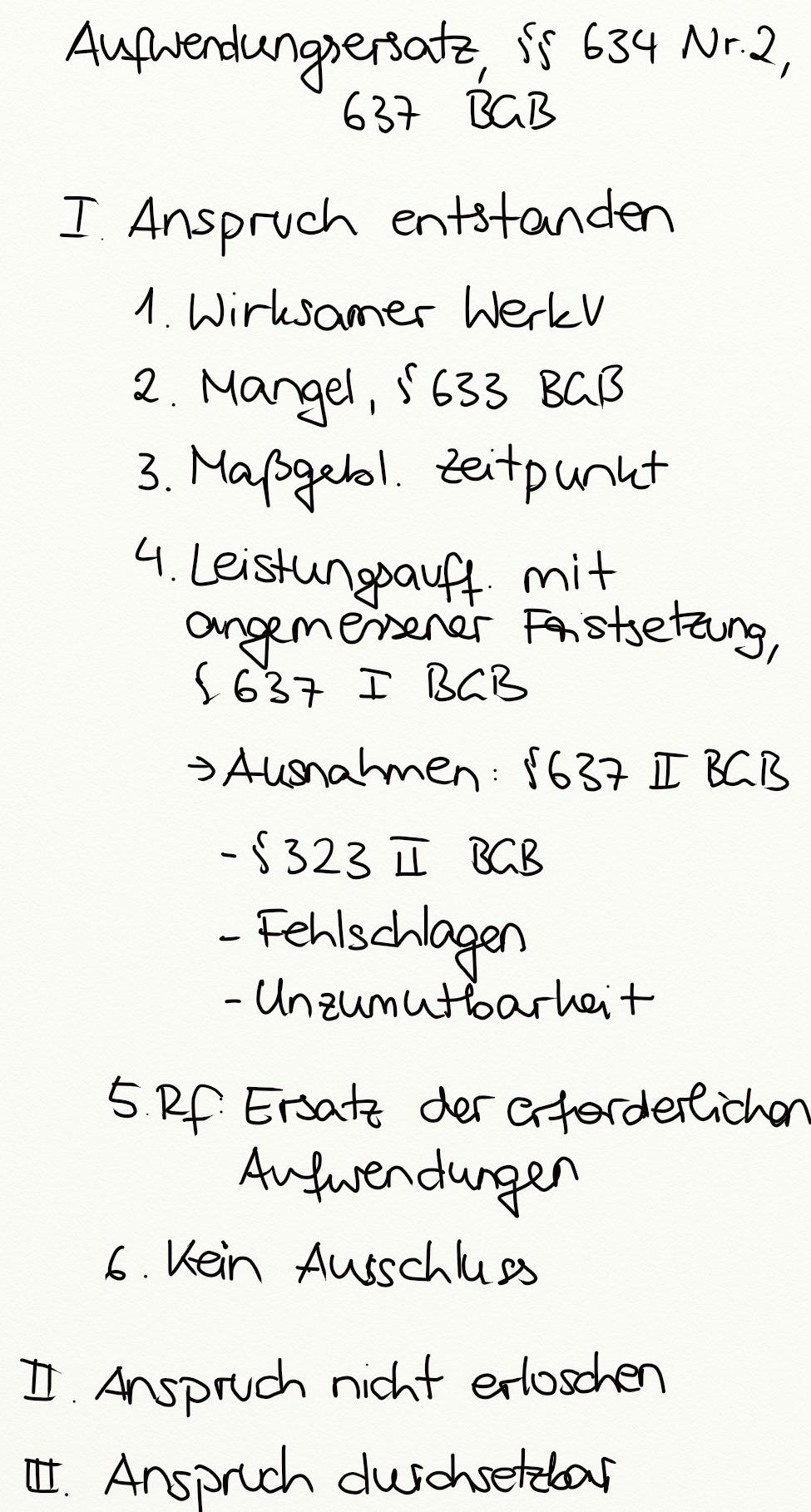 Aufwendungsersatz 634 Nr 2 637 Bgb Exkurs Jura Online