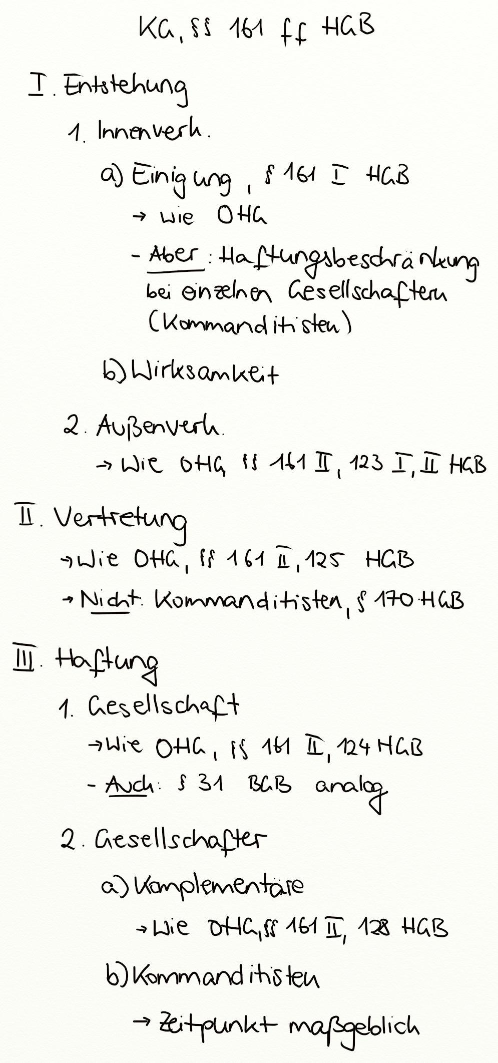 KG, §§ 161 ff. HGB - Exkurs - Jura Online