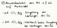 Tafelbild - Problem - Anwendbarkeit des Art. 2 I GG auf Ausländer