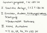 Tafelbild - Genehmigungsbedürftigkeit, § 62 LBO SH