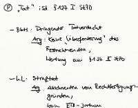 Tafelbild - Problem - Tat i.S.d. § 127 StPO