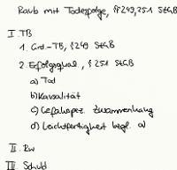 Tafelbild - Raub mit Todesfolge, §§ 249, 251 StGB