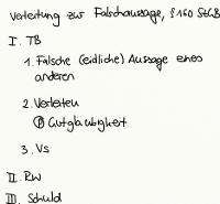 Tafelbild - Verleitung zur Falschaussage, § 160 StGB