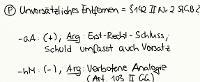 Tafelbild - Problem - Unvorsätzliches Entfernen = § 142 II Nr. 2 StGB