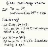 Tafelbild - BAK-Berechnungsmethoden
