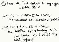 Tafelbild - Problem - Tatsächliche Tatbegehung bei § 145d StGB