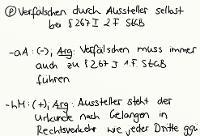 Tafelbild - Problem - Verfälschen durch Aussteller selbst, § 267 I 2. Fall StGB