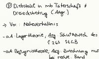 Tafelbild - Problem - Abgrenzung Diebstahl in mittelbarer Täterschaft - Dreiecksbetrug