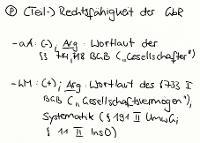 Tafelbild - Problem - (Teil-)Rechtsfähigkeit der GbR
