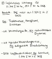 Tafelbild - Problem - Gefährliches Werkzeug i.S.d. §§ 244 I Nr. 1a, 250 I Nr. 1a StGB