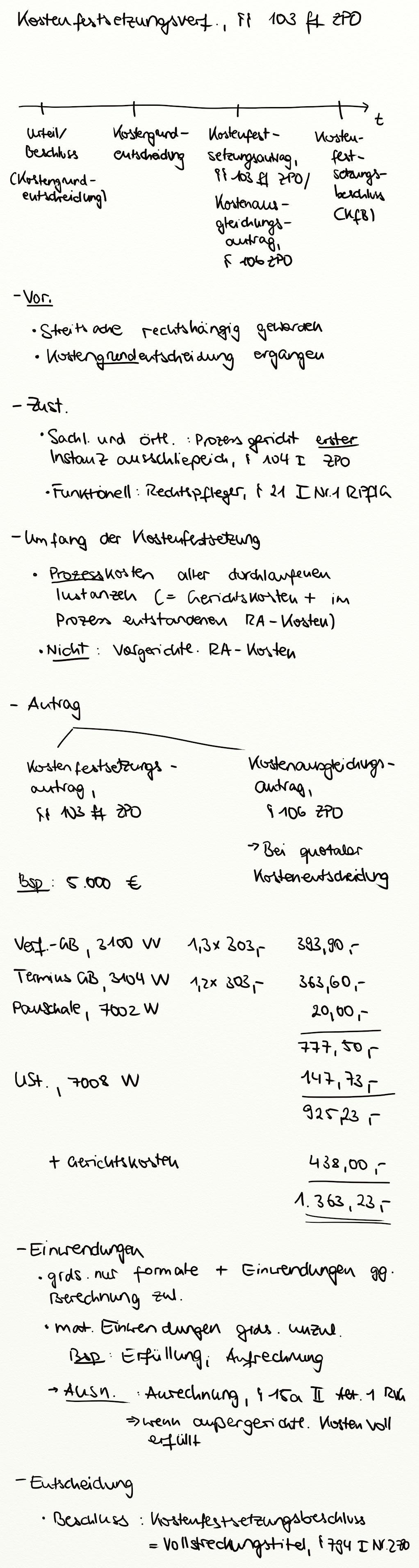 Kostenfestsetzungsverfahren 103 Ff Zpo Exkurs Jura Online