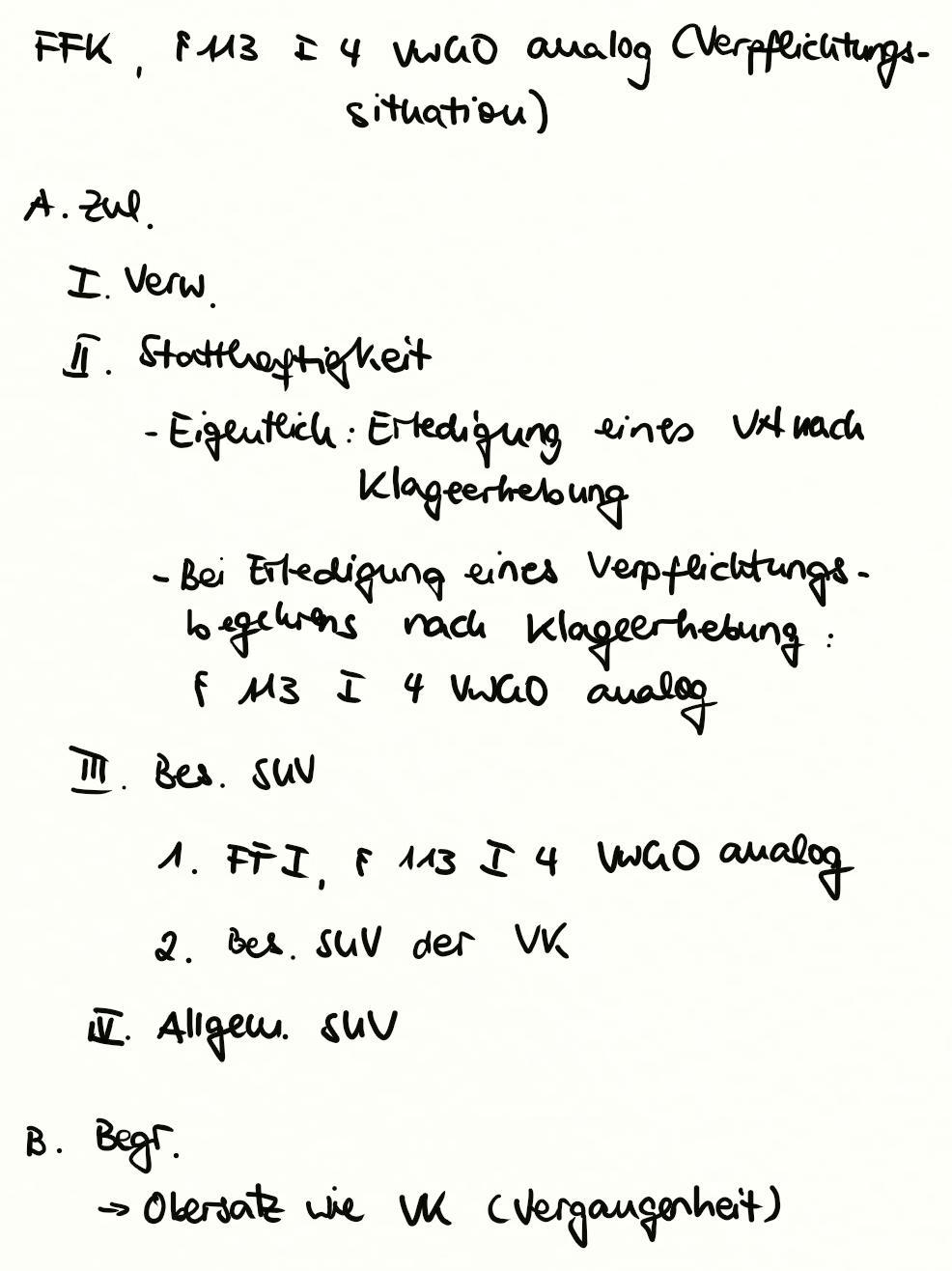 Fortsetzungsfeststellungsklage 113 I 4 Vwgo Analog