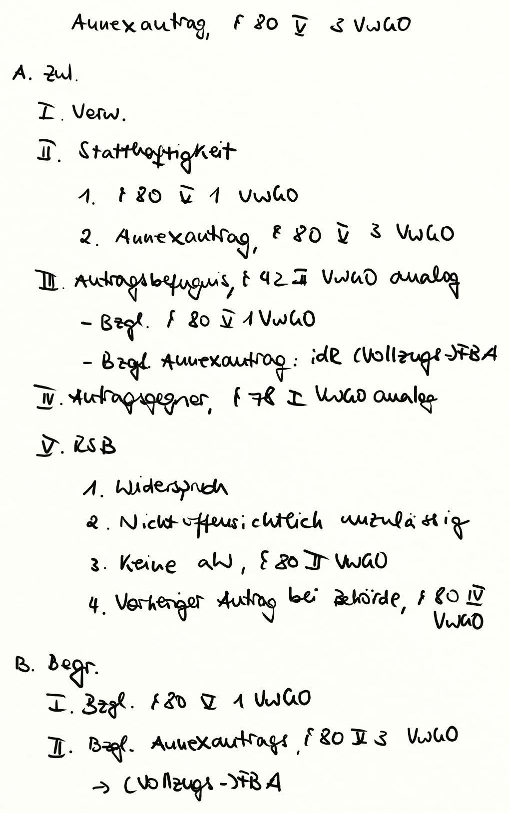 Annexantrag 80 V 3 Vwgo Exkurs Jura Online